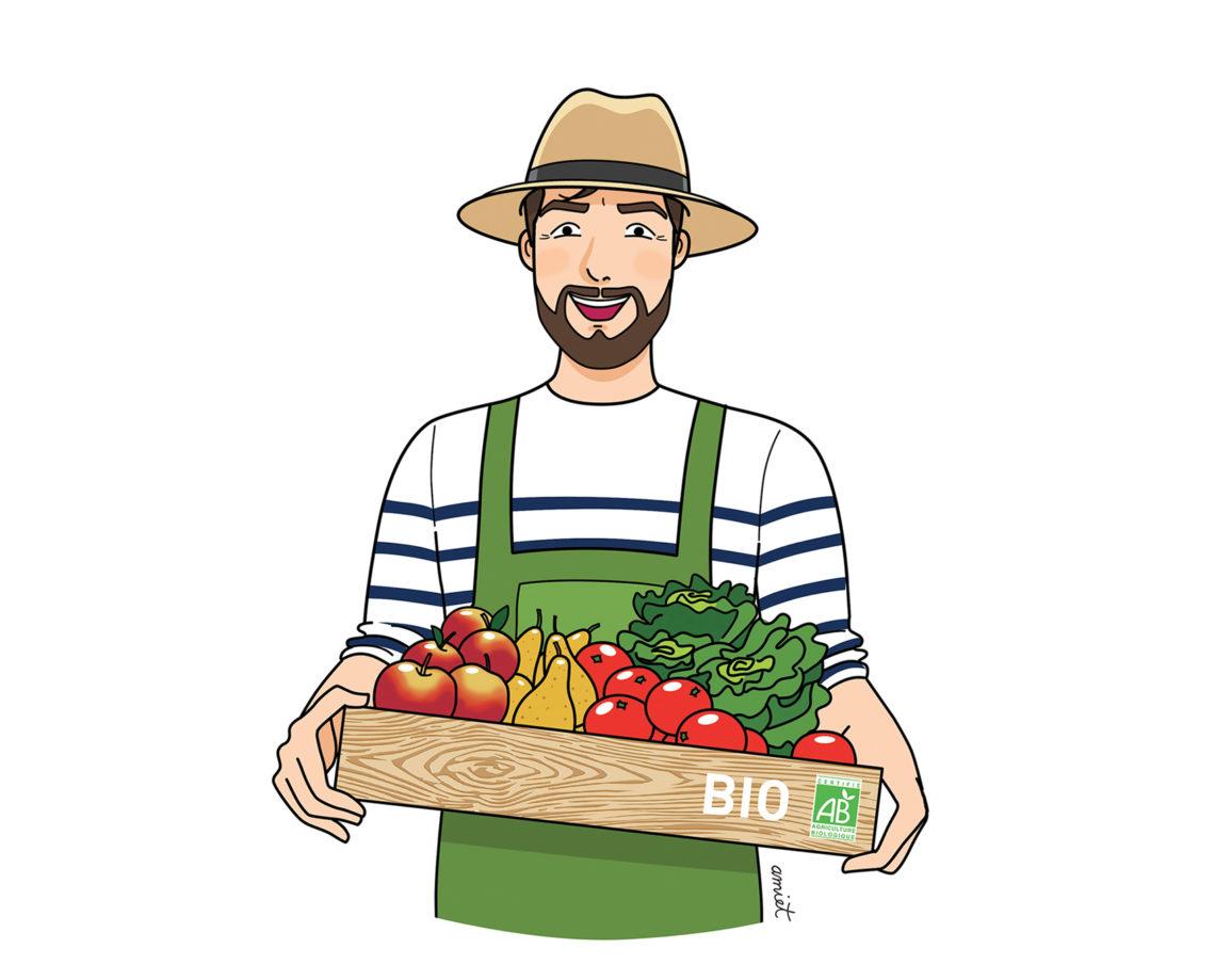 Bio, jardin, alimentation, fruits, garçon, homme